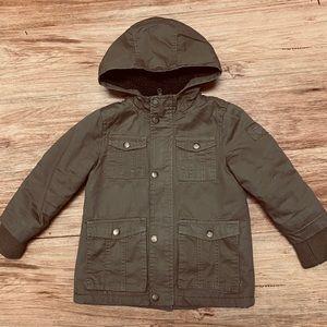 new boys hooded winter/spring khaki jacket sz 4